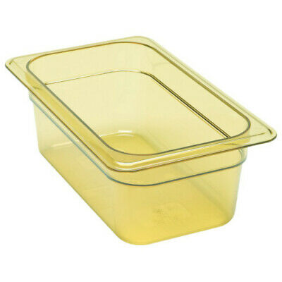 "Cambro 44HP150 H-Pan 4"" Deep Amber High Heat Hot Food Pan 1/4 Size (6 per case)"