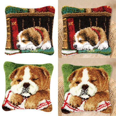 2 Pieces Latch Hook Craft Kits Lovely Dogs Pattern Sofa Cushion Cover Making