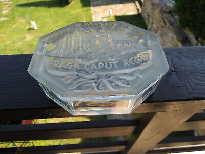 Curt Schlevogt Art Deco Bohemian Crystal Clear Engraved Glass jewelry box
