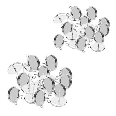 40 Round Bezel Blank Tray Stainless Steel Stud Earring Post Accessory12//10mm