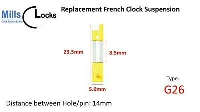 Brass French Clock Pendulum Suspension Spring. (24mm x 9.5mm x 5mm)  (Type G26)