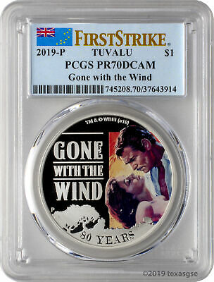 2019-P $1 Tuvalu Gone with the Wind 1oz 9999 Silver Proof Coin PCGS PR70DCAM FS