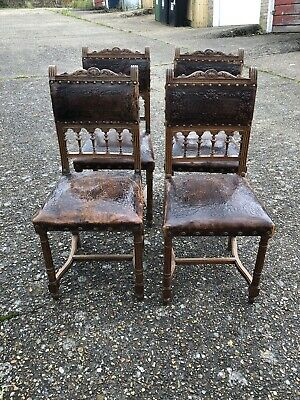 4 Antique French Dining Chairs With Real Leather Embossed Seats Need Some TLC