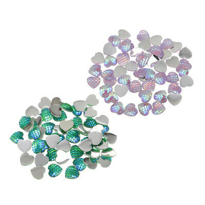 100x Heart Resin Mermaid Fish Scale Flatback Cabochon Charms Green Pink 12mm