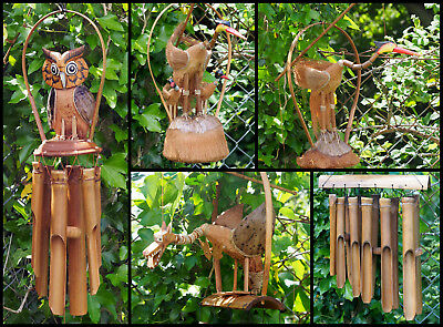 Large Animal Bamboo & Coconut Wind Chimes - Dragon, Birds, Owls