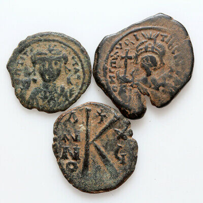 Lot Of 3 Byzantine Bronze Coins  Circa 500-700 Ad