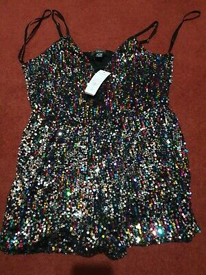 60815054 PRIMARK summer sequin playsuit size xs festival disco beach holiday BNWT