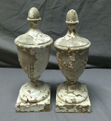 Pair Antique Wood Finials Shabby Vintage Old Chic 365-19L