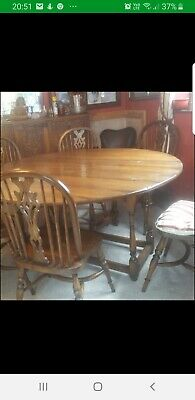 Antique  oak gate leg table 6 chairs