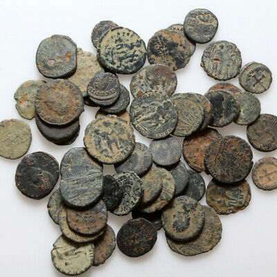 Top Lot Of 50 Late Roman Bronze Coins , Clean And Partial Clean