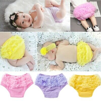Newborn Baby Bloomers Panties Girls Cotton Lace Ruffle Nappy Diaper Cover Lovely