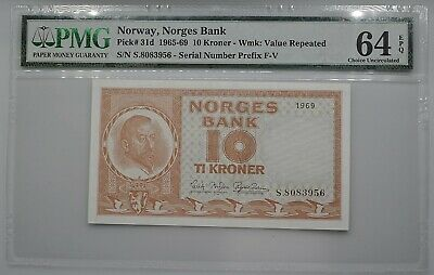 Norway, Norges Bank 1965-69 10 Kroner Note Pick 31d PMG 64 EPQ Ch Uncirculated