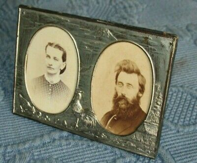 Antique Standing Double Oval Picture Frame with Raised Chickens & Barn & Photos