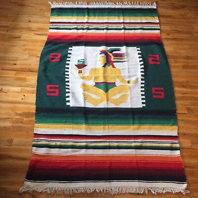 Vintage 70s Mexican Folk Art Textile Woven Panel Blanket Figure Plant Rug Decor