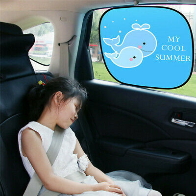2Pcs Car Rear Side Window Sun Shade Cover UV Block Cartoon Visor Shield ScreenOS