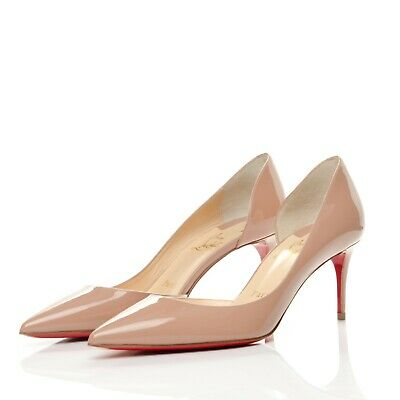 411d4a098 Christian Louboutin Iriza Half-d'Orsay 70 Red Nude Patent Leather Pumps  Size 39