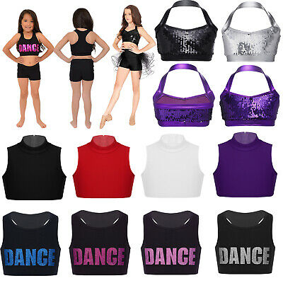Girls Crop Top Dance Vest Fitness Training Gym Yoga Running Sports Bra Tops Kid