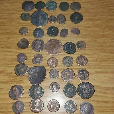 Great Vintage Lot Of 40 Cleaned, With Many Details Mostly Roman Antique Coins!!!