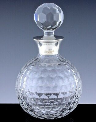 Superb 1997 Sterling Silver & Cut Crystal Glass Golf Ball Form Whiskey Decanter
