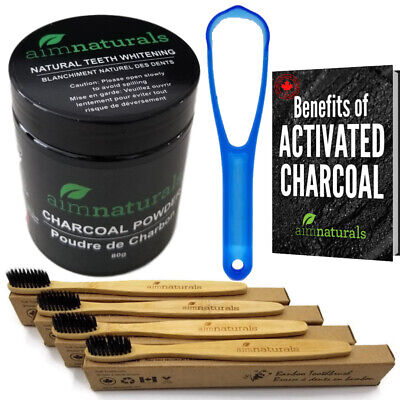 Teeth Whitening Charcoal 80g , Toothpaste, Tongue cleaner, 4 Bamboo toothbrushes