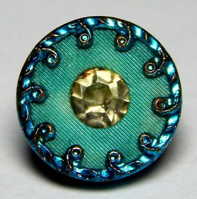 ANTIQUE TEAL GREEN TINT METAL WESKIT BUTTON w/VOROID CENTER+FACETED GLASS JEWEL