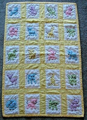 Crib Quilt Hand Quilted and  Embroidered Yellow Gingham Animal Appliques #1480