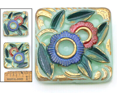 25mm Vintage Czech Glass JADEITE Art Deco Painted Flowers SQUARE Buttons 2pc