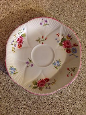 Dainty Shelley England Bone China Rose And Red Daisy Saucer Only