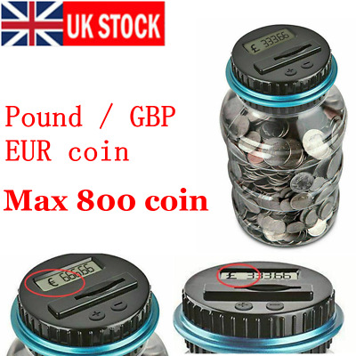 Child EUR/Pound coin Saving Money Jar LCD Display Digital Counting Piggy Bank UK