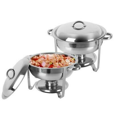 2 Pack Stainless Steel Chafer Round Chafing Dish Sets 5 QT Dinner Restaurant