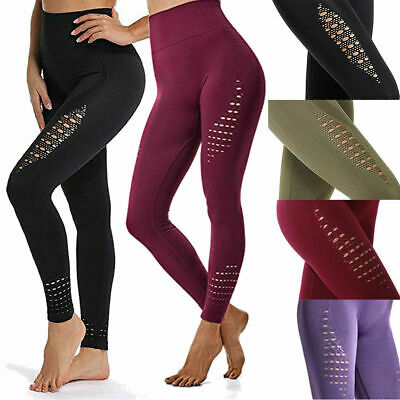Women Seamless Yoga Leggings Stretch Fitness Sports Gym Pants Breathable Trouser