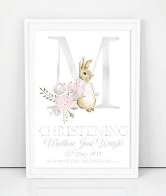 Personalised Peter Rabbit Poster Print. Gift Christening, Baptism, New Baby.