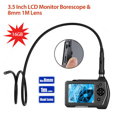 "NTS150 2 Lens φ8mm 3.5"" Monitor 1MP 2x Zoom 6LEDs Industrial Borescope 16GB +1M"