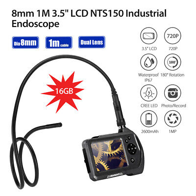 "Handheld NTS150 2 Lens 8mm 3.5"" Monitor 1MP IP67 Industrial Endoscope 16GB +1M"