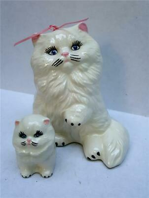 """Vintage Persian Cat Kitten Figurines Mama with Baby White Pink Bow 5"""" Marked JT"""
