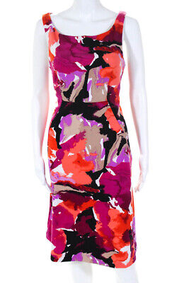 Trina Turk Graphic Floral Print Boat Neck A Line Dress Pink Size 8 11010891