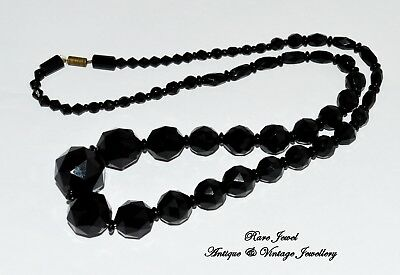 """Antique Jewellery Victorian French Jet Lovely Large Cut Mourning Beads 26"""""""