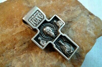 Vintage Sterling Silver Orthodox Cross Holy Face Of Jesus, St. Michael Archangel