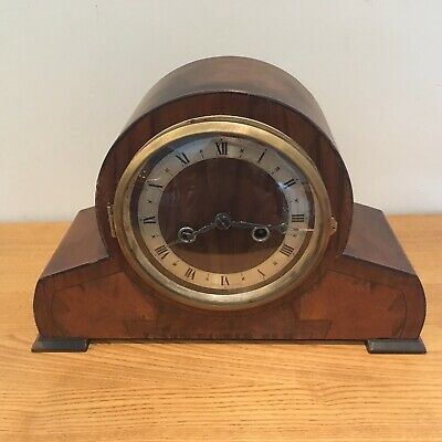 Art Deco Enfield Walnut Domed Chiming Mantle Clock Fully Working With Key