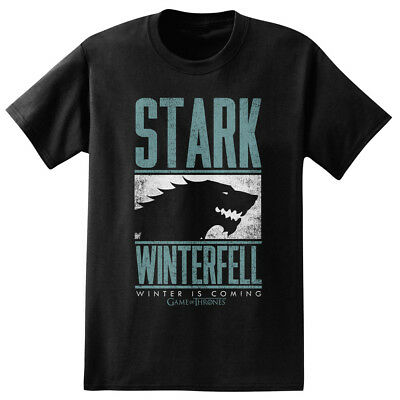 Game of Thrones Stark Winterfell Blue Text Black Adult T-Shirt