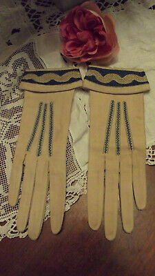 Vintage Art Deco 1930's French Fine Kid Leather Gloves with Embroidery...30's