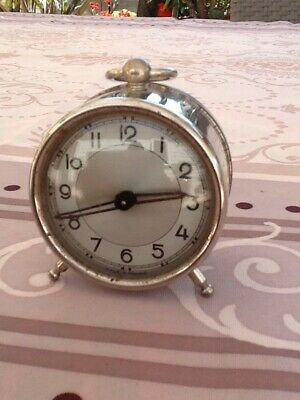 Antique Small French Chrome Clock Working.