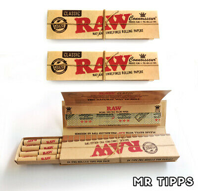 RAW Classic Connoisseur King Size Rolling Papers + PREROLLED Tips - 3 or 5 Packs