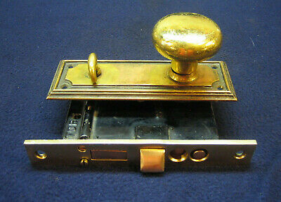 Antique Entry Mortise Lock Set Brass Plates & Knobs Cylinder Key Corbin 1344