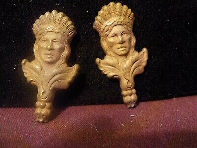 Vintage Beautiful Pair Of Ornate Small Copper?? Metal? Native American Decor