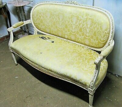 Antique Vintage French Louis XV Rococo Style Sofa re-upholstery project