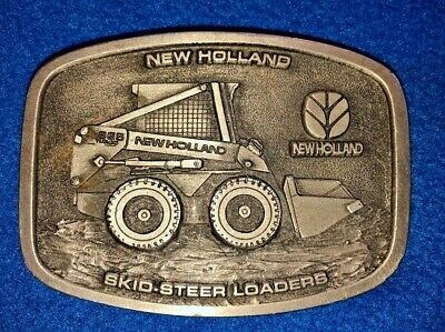 New Holland Skid Steer Loaders Pewter Belt Buckle by Spec Cast Made in USA