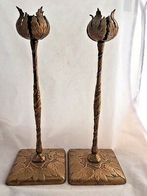 Antique Arts& Crafts Bronze Marshall Fields Tall Desk Set Candlesticks Pair HTF