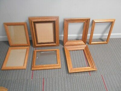 7 vintage wood wooden oak & pine picture / photo frames 4 w glass 3 without