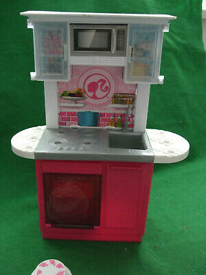 Barbie Kitchen Playset One Unit Oven/Hob/Sink/Upper Cupboards/Paper Microwave